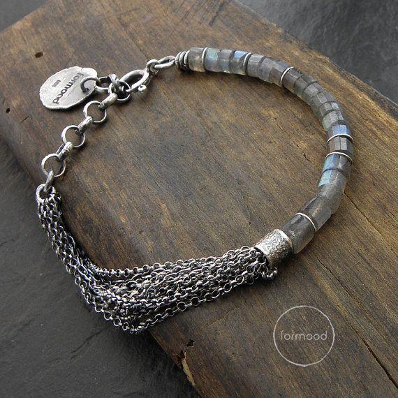 labradorite or sapphire bracelet - sterling silver multi chain bracelet