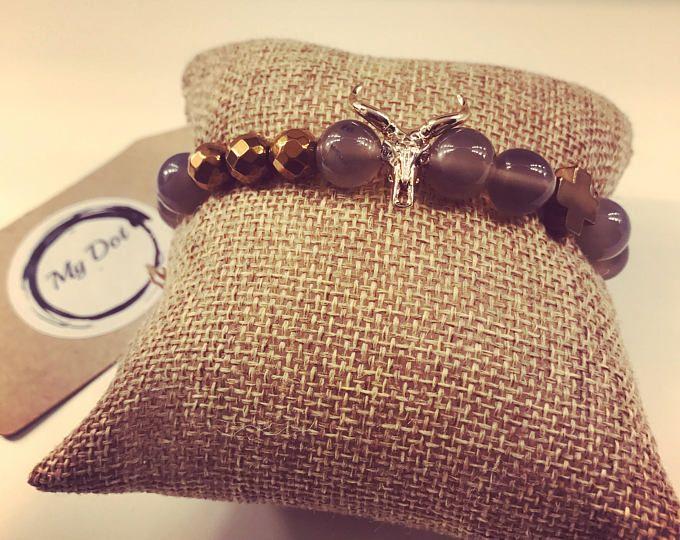 Women bead bracelets Agata gemstone bracelets Hematite cross round beads Bull charm bracelet Brass metal
