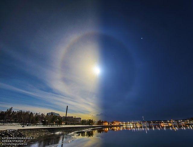 Фотография, на которой сочетается ореол Луны и Солнца