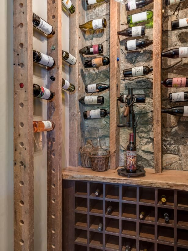 Rustic Wine Cellar With Reclaimed Wood Reclaimed Wood And A Stone