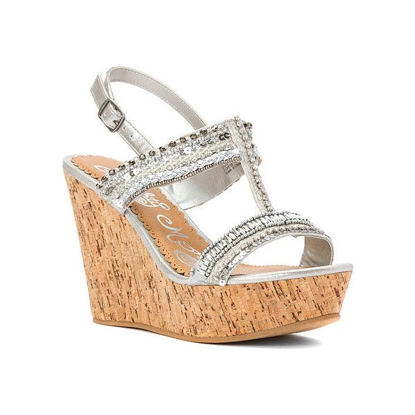 Naughty Monkey Azteca Wedge Sandal (53 CAD) ❤ liked on Polyvore featuring shoes, sandals, high-heeled t-strap sandals, silver, summer sandals, red wedge shoes, red high heel sandals, red sandals and red shoes