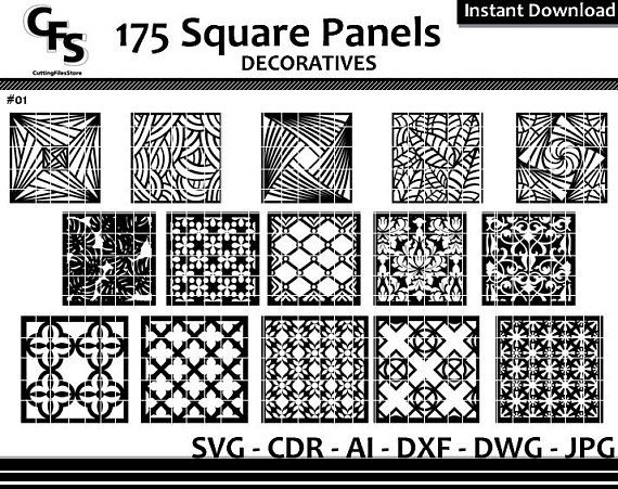 175 Square Wall Panels Screen Decoratives CNC Laser Cdr