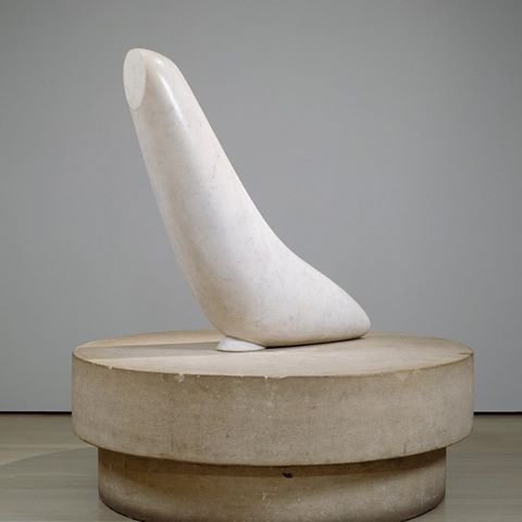 "Animals that fly or swim were common subjects for Constantin Brancusi, and he often sought to depict their speed and movements. In ""The Miracle (Seal [I])"" (1930-32), the simplified form suggests not only the work's namesake, but also its fluid means of locomotion. By balancing the sculpture delicately on the limestone base and giving it a pronounced upward thrust, Brancusi captured the seemingly weightless body of the seal suspended in water. The effect is striking given the significant…"