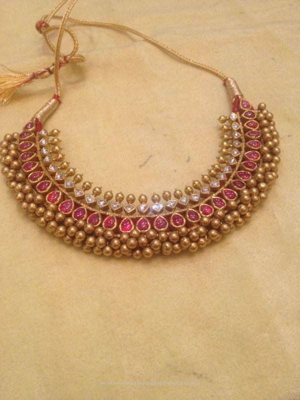 Gold Antique Ruby Tussi Necklace Designs, 22K Gold Antique Tussi Necklace, Latest Tussi Necklace Designs.