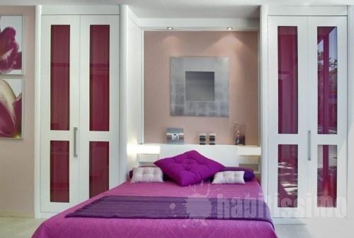 Armarios de puertas plegables combinados con cabecero for Armarios altos para dormitorio