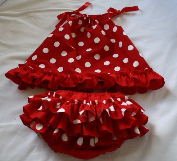 Christmas Baby Pillowcase Dress and ruffle bloomers Red & White Polka Dot Made to Order 0 to 2T  Treasury Listed Item. $37.99, via Etsy.