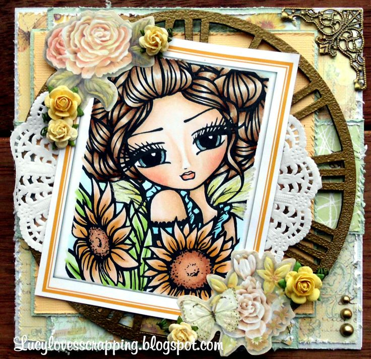 "Paper Crafting Journey: Winner and Top Picks of our For that Special Lady Challenge ""DeeDee"" Sunflower Fairy Digi Stamp HannahLynn.com"