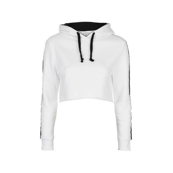 Cropped Hoodie by Escapology ($51) ❤ liked on Polyvore featuring tops, hoodies, white, cotton hooded sweatshirt, crop top, hooded crop top, cropped hoodies and sweatshirt hoodies