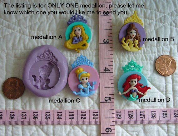 Princess Medallion Food Safe Silicone Mold for Fondant Gum Paste Pastillage Chocolate Candy Sugarcraft Resin Clay Plaster Wax DIY