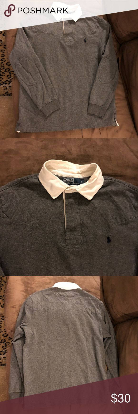 Polo Ralph Lauren Grey Quilted Rugby Shirt L Polo Ralph Lauren Solid Grey With Quilted Padded Shoulders and Elbow Patches Long Sleeve Rugby Shirt size L! Great condition! Please make reasonable offers and bundle! Ask questions! :) Polo by Ralph Lauren Shirts