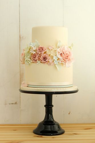 Romantic Vintage Wedding Cake. For some reason vintage is my new thing. It might be the simple look, but how perfect would this cake be with the flowers me & Brandon won't.