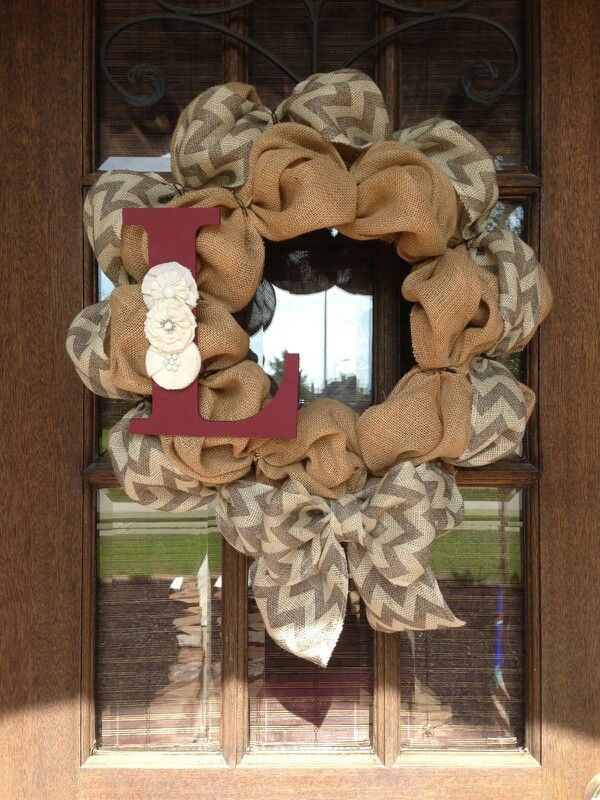 Chevron ribbon w/bow Wreath- like the accents on the letter.