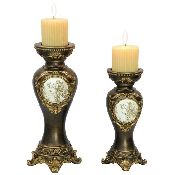 Benzara Sophia Traditional Candle Holder Set, Black and Gold, Pack of 4, Black/Gold black/ gold (Resin)