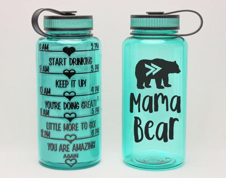 MAMA BEAR bottle - Motivational Water Bottle - daily water intake bottle - gym bottle - tribal style BPA free 34 Oz  workout waterbottle by Limboea on Etsy https://www.etsy.com/ca/listing/275724104/mama-bear-bottle-motivational-water