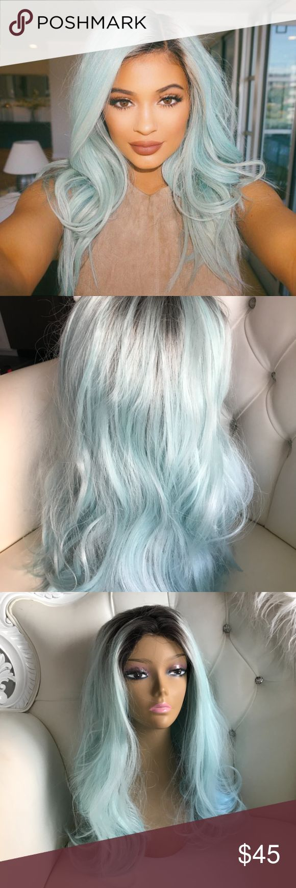 Kylie Jenner Light Teal/Blue Lace Front Wig Very similar to the one you see Kylie Jenner wear. Synthetic hair. Adjustable. Accessories Hair Accessories
