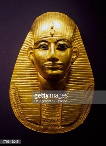 Gold funerary mask of Pharaoh Amenemope, From Tanis, Egyptian civilization, Third Intermediate Period, Dynasty XXI