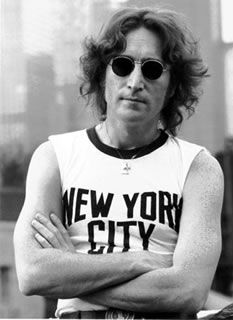 John Lennon NYC T-Shirt 1974  iconic photo by  Bob Gruen