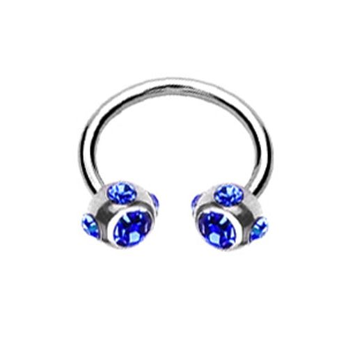 Piercing crystal ball ring blauw