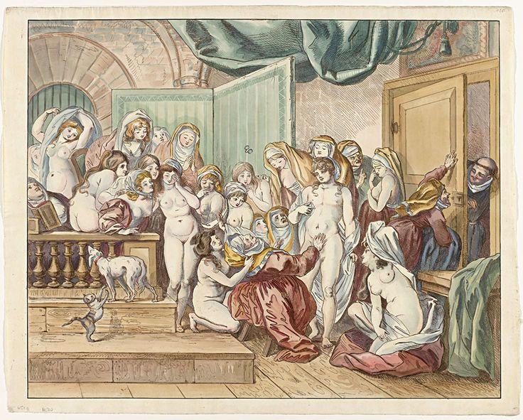 De verrassing in het nonnenklooster, Johann Heinrich Ramberg (atelier), 1800