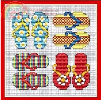 `Flip Flops cross stitch - Just FYI, the pattern is right next to this on my board.
