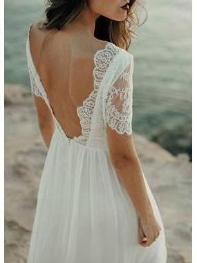 Ivory Chiffon Beach Wedding Dresses Rhinestone Belt Short Sleeve Wedding Dress AWD1162