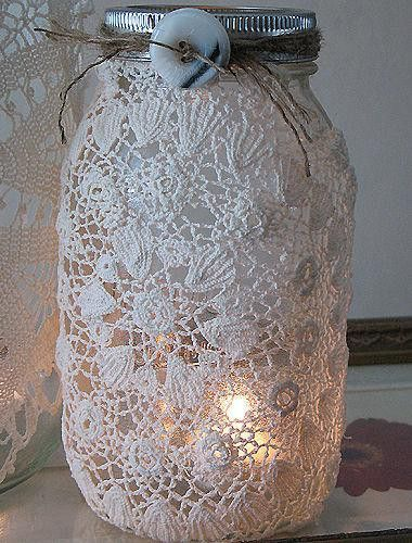 I've seen a lot of lace covered mason jars...this is the prettiest by far.