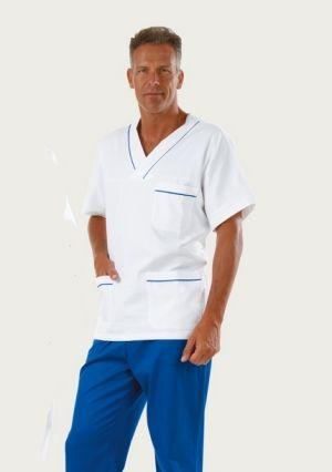 Camice Medico Ospedale Oss Infermiere Bianco Con Profili Bluette
