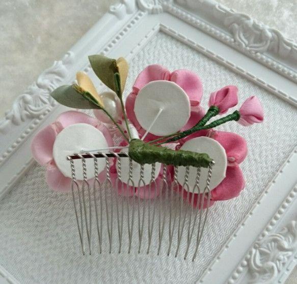 桜のつまみ細工の髪飾り(正絹)