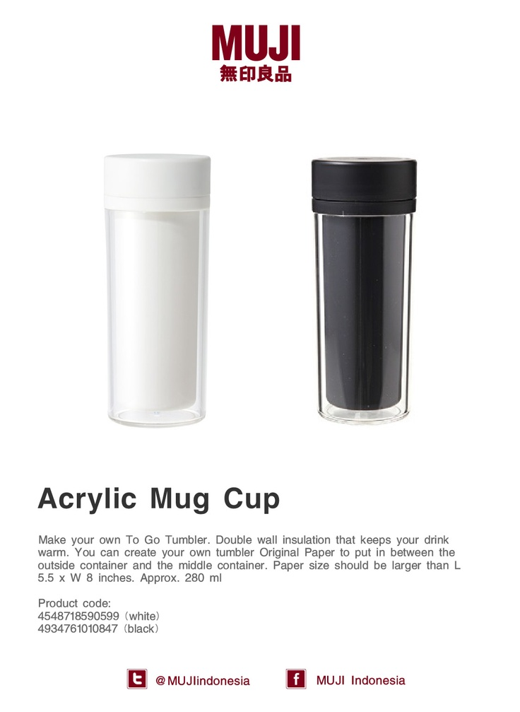Acrylic Mug Cup - make your own To Go Tumbler. Available in white and black color.