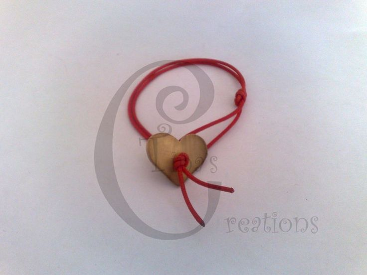 Valentine Heart bracelet red cord gp tinas creations 15cm #TinasCreations #adjustablebracelet