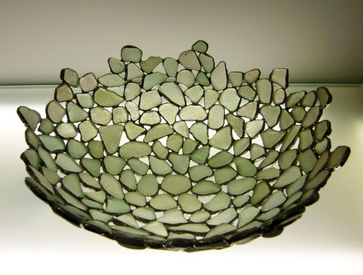 Large Soldered Sea Glass Bowl - Sara Le Gris Creations