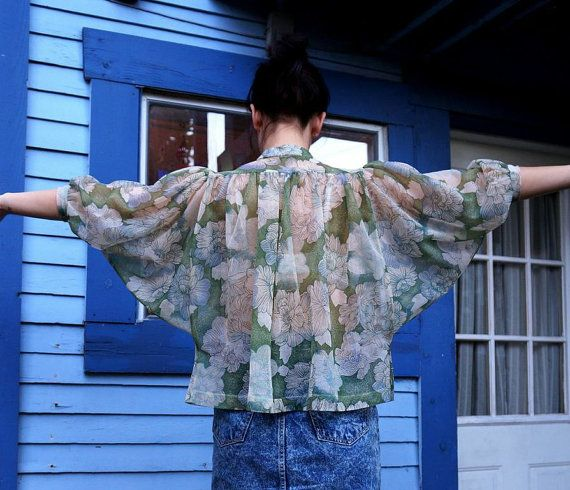 1980's Sheer Botanical Floral Peony Print with Batwing Sleeves