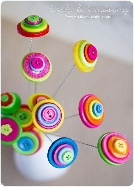 DIY Button flowers - by Craft & Creativity