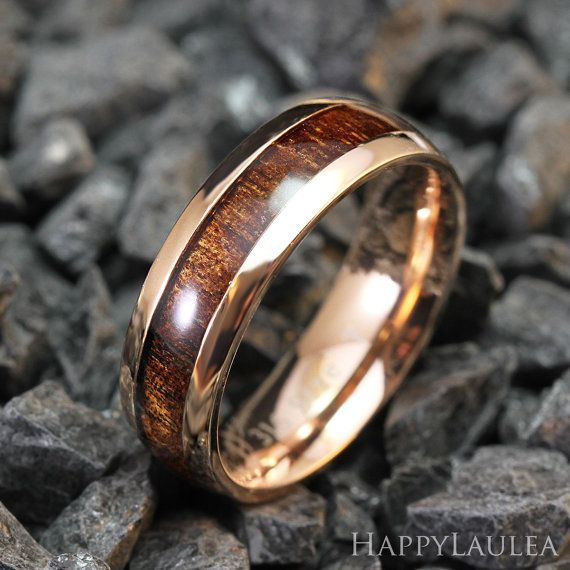 Stainless Steel Ring with Koa Wood Inlay (6mm width, Rose gold IP, Barrel style)