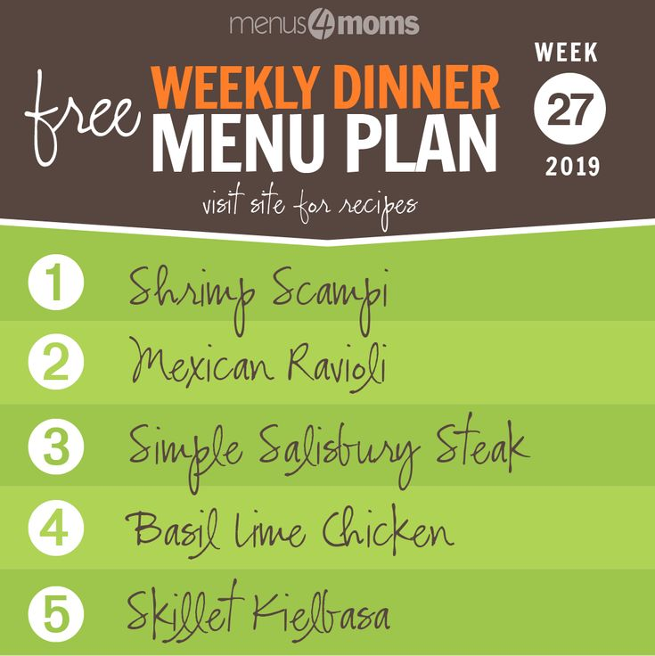 Free Weekly Meal Plan for Week 27, 2019: Shrimp Scampi, Mexican Ravioli, Simple …