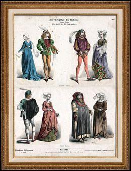 Deutsche und Französische Tracht und Kleidung - Kostüme - Deutsche und Französische Mode - Deutsche Patrizier - Frankreich - Deutschland (15. Jahrhundert - XV. Jahrhundert)