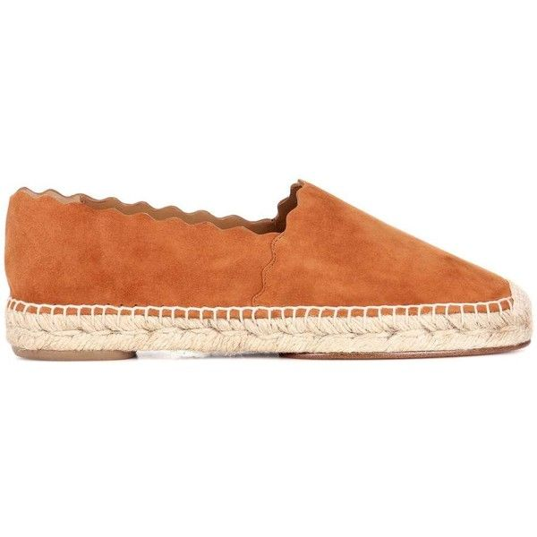 Chloé Lauren Suede Espadrilles ($730) ❤ liked on Polyvore featuring shoes, sandals, suede shoes, espadrilles shoes, brown espadrilles, espadrille sandals and brown suede sandals