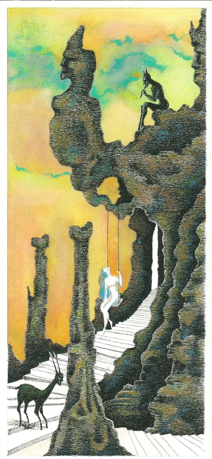 """""""L'Apres Midi d'un Faune"""", 2013  3-Fiero il suono va parlando delle dee. China, acquerelli, pastelli a cera - Ink, watercolors, wax crayons."""