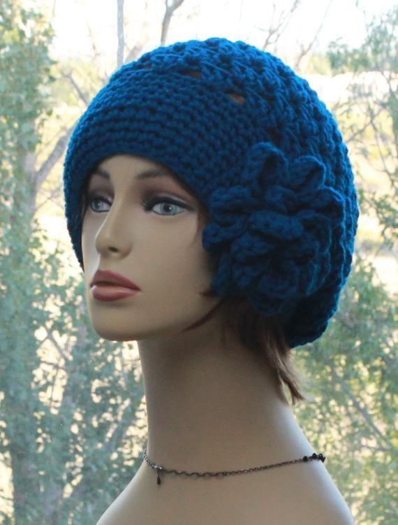 303c8358ebd Crochet Womens Hats Winter Slouch Beanie Fashion Hat with Beautiful Flower