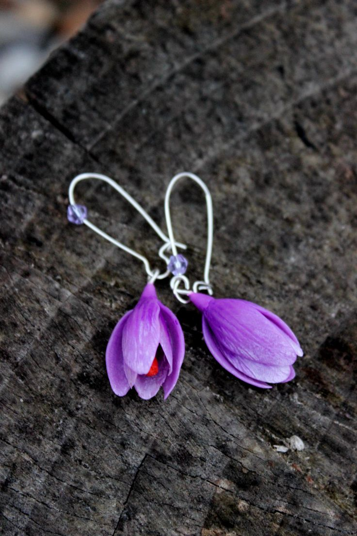 Silver 925 Crocuses earrings - choose the color of the flowers jewelry - spring cold porcelain earrings by Jewellrylimanska on Etsy