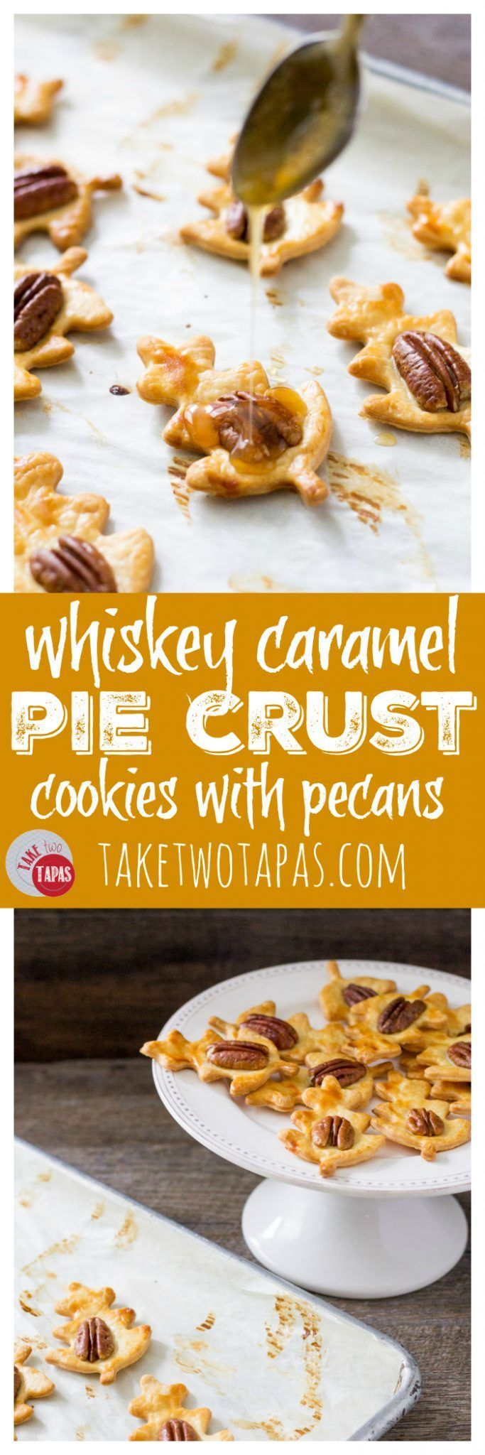 Simple and flaky pie crust is transformed into easy pie crust cookies topped with a pecan and drizzled with a whiskey caramel sauce! Cut them into your favorite shape to fit your holiday or occasion. Whiskey Caramel Pie Crust Cookie Recipe | Take Two Tapas