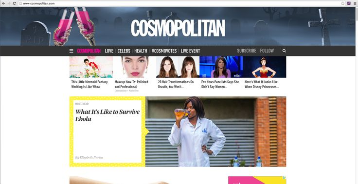 The home page of Cosmopolitan magazine I found as inspirational because I like the use of contrast. Not only are there sharp contrasting colors but the text contrasts. I think it makes the page look visually interesting and allows important text to pop out at a viewer. For my website I would like to have sharp contrasting texts as seen on Cosmo.