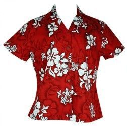White Hibiscus Ladies Hawaiian Shirts Red - I had a shirt kinda like this that I wore with jeans.