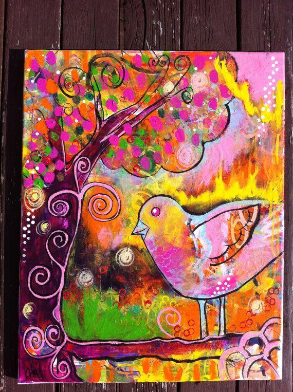 Whimsical  Bird on a Branch Original Acrylic by kheilartworks, $235.00