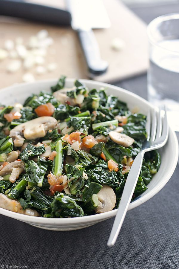 Sauteed Kale with Mushrooms and Tomatoes is the best healthy side dish ...