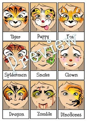 Face Painting Menu 4 Page Bundle Digital Download PDF and