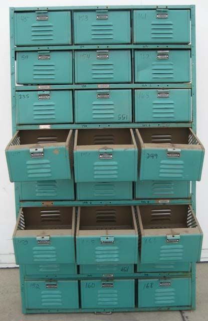 I have never seen locker room storage as drawers.  This would  help the organizational problem in my arts and crafts room.  I would work in there more if there was an easily accessible place for everything.