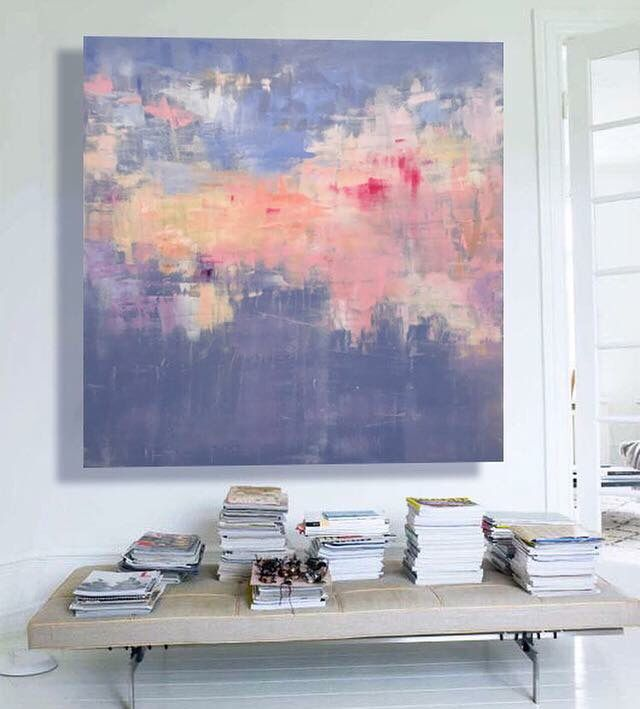 Spring Reverie  Oil on canvas   1100 x 1100 mm  $1850    belinda griffiths   {Australian contemporary artist, glitch, digital, impressionism, abstract, oil painting, landscape}