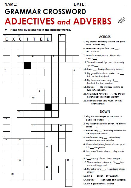 Adjective/Adverbs Crossword-IT WORKS!!