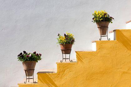 Un escalier éclatant peint en jaune soleil